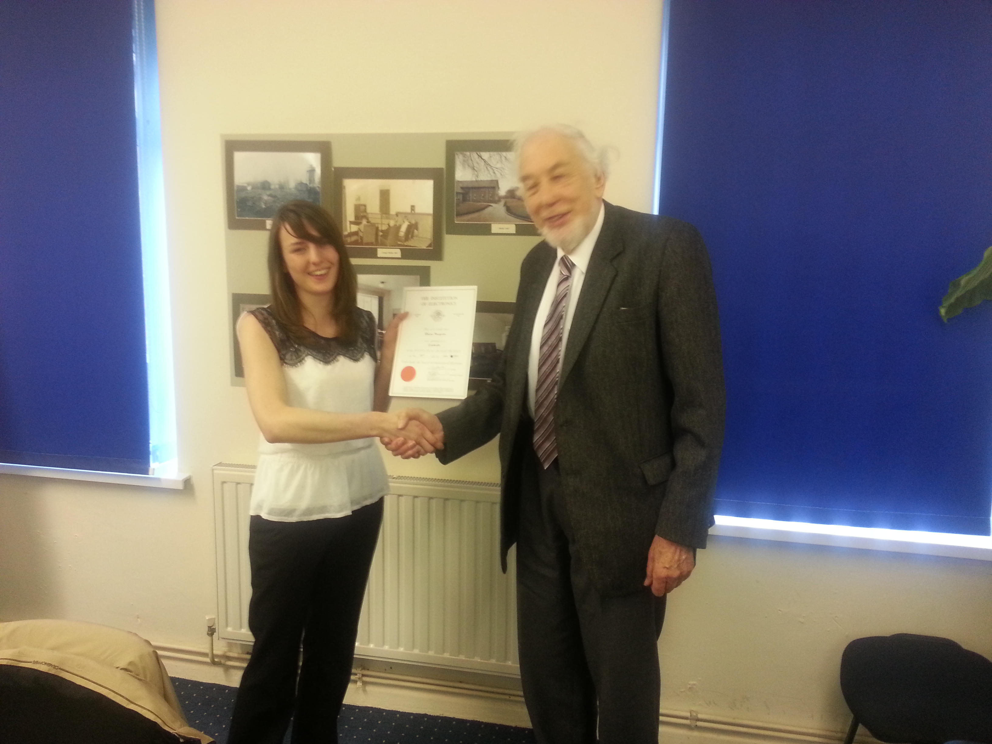 Elaine receiving her certificate